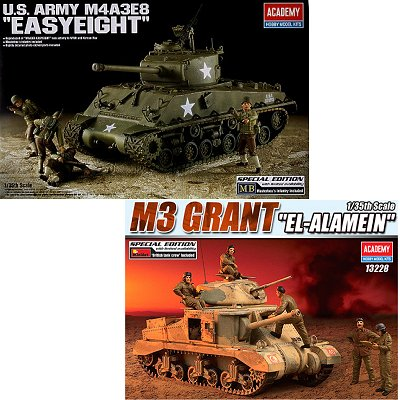 Maquettes Chars : Combo US Army M4A3E8 Easyeight + M3 Grant El Alamein - Academy-13228A