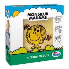 Cubes Monsieur Madame : 4 cubes en bois