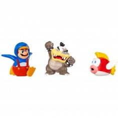 Micro figurines Nintendo : Morton Koopa, Mario Pingouin, Cheep Cheep