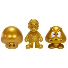 Micro figurines Or Nintendo : Mario, Super Champignon et Goomba