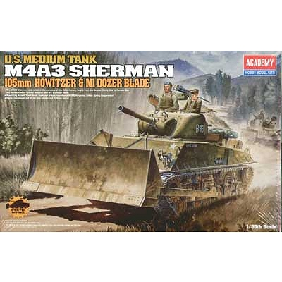 Maquette Char: M4A3 105mm Sherman - Academy-13207