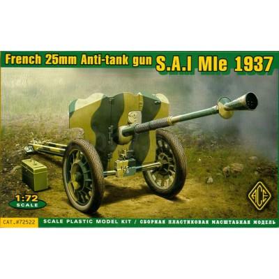 Maquette Matériel Militaire : Canon S.A.I. Mle French 25 MM Anti-Tank Gun 1937 - Ace-ACE72522
