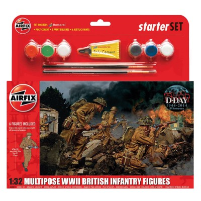 Figurines militaires pour maquette : WWII British Infantry Multipose : Starter Set : 1:32 - Airfix-55211
