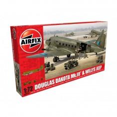 Maquette avion et véhichule militaires : Douglas Dakota MkIII et Jeep Willys