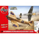 Maquettes avions : Dogfight Doubles Gift Set : Supermarine Spitfire MkVb vs Messerschmitt Bf109E