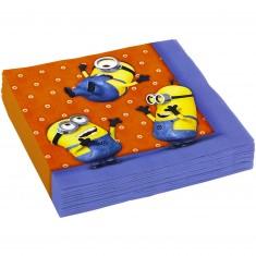 Serviettes en papier anniversaire : Les Minions Moi Moche et Méchant