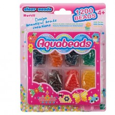 Perles Aquabeads 8 couleurs transparentes : Recharge 1200 perles