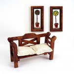 Accessoires pour maison de poupées : Mobilier et accessoires : Banc et tableaux