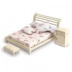 Accessoires pour maison de poupées : Mobilier et accessoires : Lit double