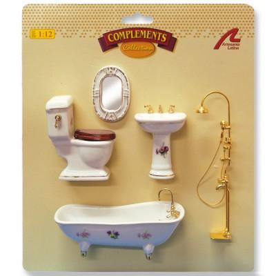 Accessoires pour maison de poupées : Mobilier pièce par pièce : Ensemble sanitaire porcelaine avec d - Artesania-10868