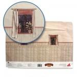 Accessoires pour maison de poupées : Murs et sols : Papier trompe-l'oeil avec fenêtres et lambris