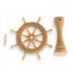 Accessoire pour maquette de bateau en bois : Roue de gouvernail  en bois 30 mm