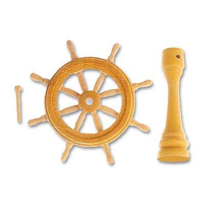 Accessoire pour maquette de bateau en bois : Roue de gouvernail  en bois 40 mm - Artesania-8574