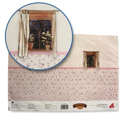 Accessoires pour maison de poupées : Murs et sols : Papier trompe-l'oeil avec fenêtres et tapisserie - Artesania-06152