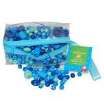 Trousse de perles en bois bleu