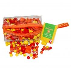 Trousse de perles en bois orange