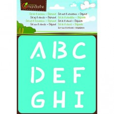 Pochoirs Set de 6 pochoirs : Alphabet - Lettres majuscules