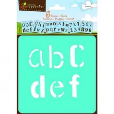 Pochoirs Set de 6 pochoirs : Alphabet - Lettres minuscules