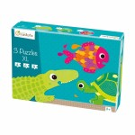 Puzzles de 4 à 8 pièces : 3 puzzles XL formes Animaux à écaille