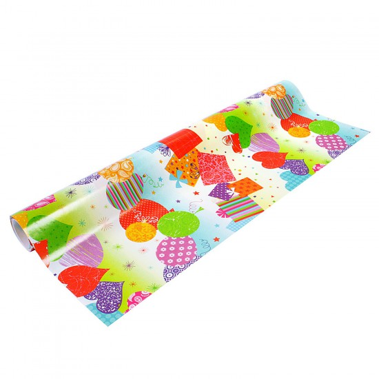 Papier cadeau largeur 50 cm : Ballons et paquets cadeaux - 3310