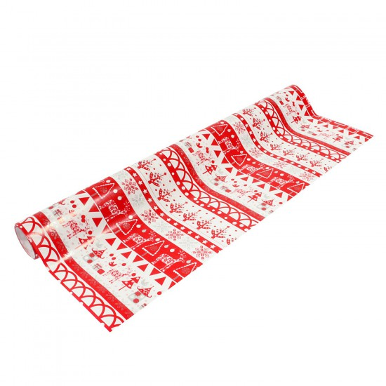 Papier cadeau largeur 50 cm : Rouge et blanc - 5313