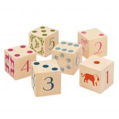 Cubes en bois : 6 cubes animaux