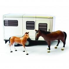 Véhicule Big Farm : Remorque à chevaux avec cheval et poulain