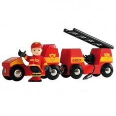 Véhicule pompier son et lumière et wagon