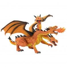Figurine Dragon à 3 têtes orange et noir