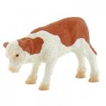 Figurine Vache Fridolin : Veau marron et blanc