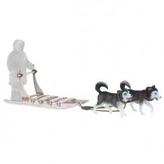Figurines Chiens: Traîneau Inuit avec 2 Huskys