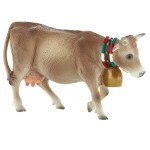 Figurine vache des Alpes avec cloche