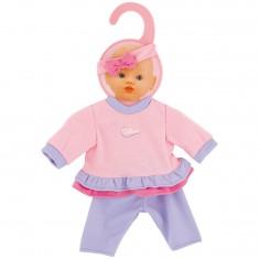 Vêtement pour poupon 32-36 cm : Pantalon mauve et pull rose