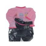 Vêtements pour poupée de 42 cm : Ensemble pantalon, haut à manches longues rose et casquette