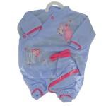 Vêtements pour poupée de 42 cm : Pyjama bleu avec bonnet assorti