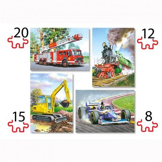 Puzzles de 8 à 20 pièces : 4 puzzles : Les véhicules - Castorland-04317