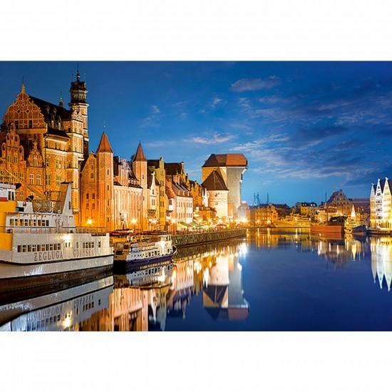Puzzle 1000 pièces - Gdansk la nuit, Pologne - Castorland-102327