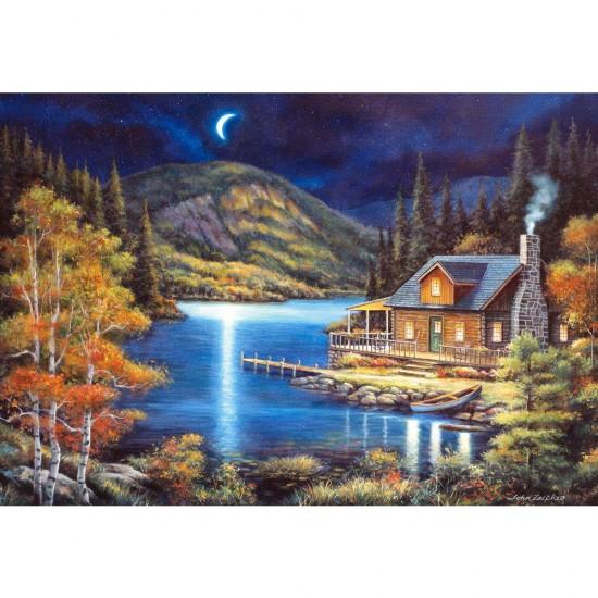 Puzzle 1000 pièces : Cabane au clair de lune - Castorland-102990