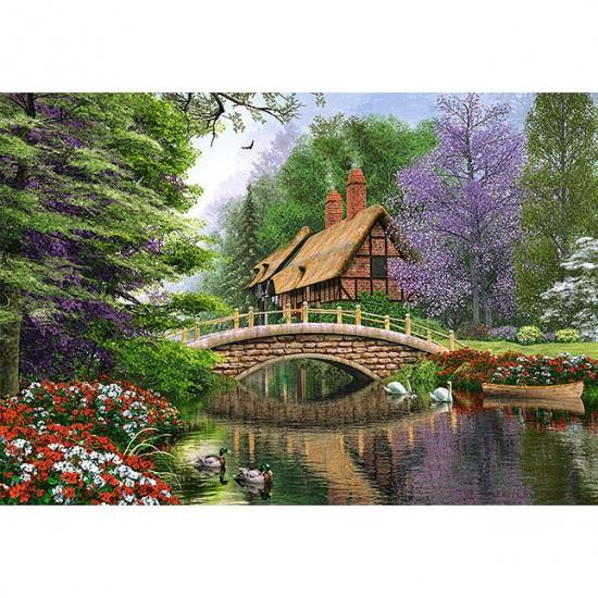 Puzzle 1000 pièces : Le cottage de la rivière - Castorland-102365