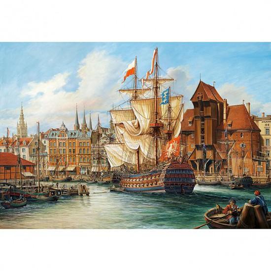 Puzzle 1000 pièces : Le port de Gdansk, Pologne - Castorland-102914
