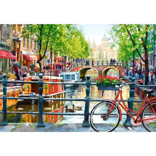 Puzzle 1000 pièces : Paysage d'Amsterdam - Castorland-103133