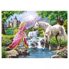 Puzzle 108 pièces : Demoiselle et son cheval