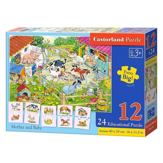 Puzzle 12 pièces + Puzzles éducatifs de 2 pièces : Maman Animaux et leur Bébé - Castorland-E-111