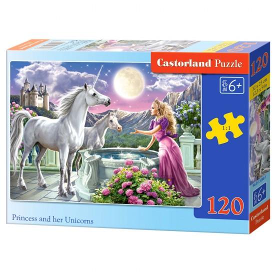 Puzzle 120 pièces : Princesse et sa Licorne - Castorland-13098