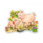 Puzzle 15 pièces : Un porcelet et sa maman