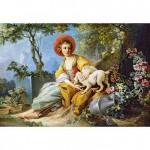 Puzzle 1500 pièces : Jeune femme assise avec un chien