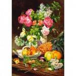 Puzzle 1500 pièces : Roses, fruits et porcelaine