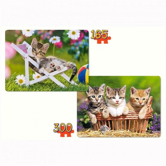Puzzle 165 et 300 pièces : Chatons dans le jardin - Castorland-021116