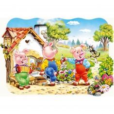 Puzzle 20 pièces maxi : Les trois petits cochons
