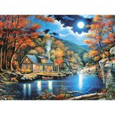 Puzzle 2000 pièces : Chalet au bord du lac